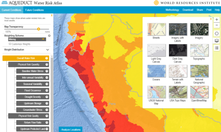 WRI Aqueduct Water Atlas view of Peru and Bolivia