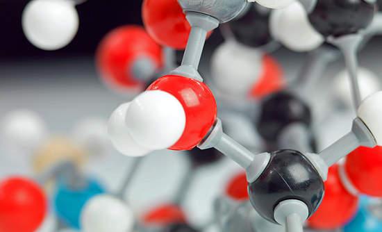 A three dimensional representation of a molecular structure.