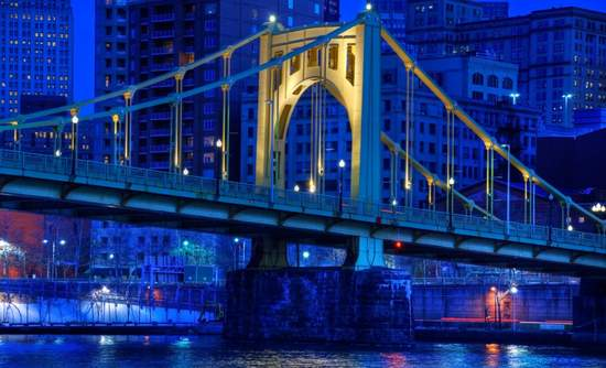 The Roberto Clemente Bridge  over the Allegheny River in Pittsburgh, Pennsylvania.