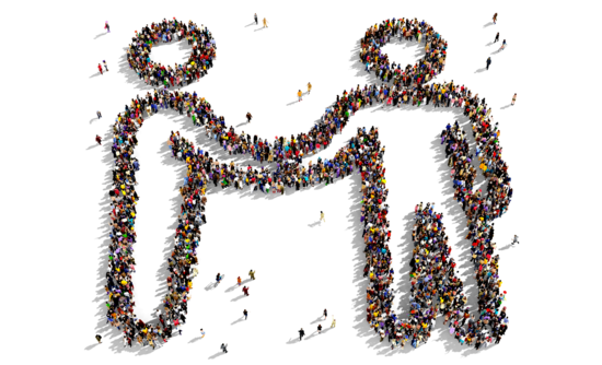 Aerial image of people forming in the shape of two allies