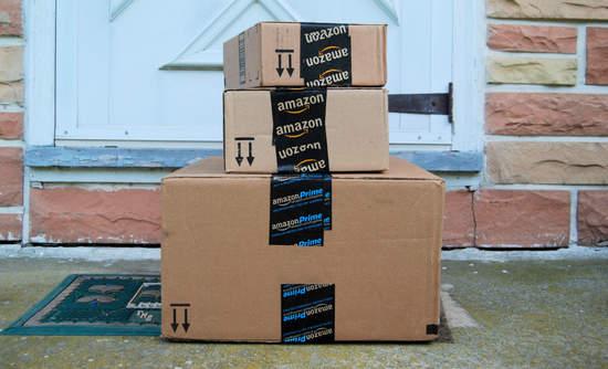 Amazon boxes on a doorstep