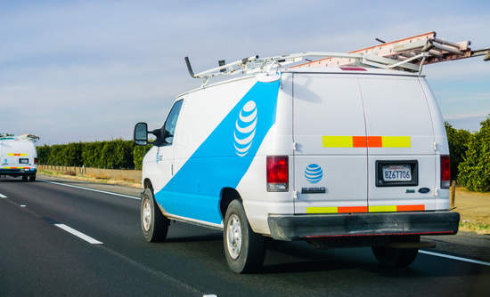 AT&T Broadband truck on the road