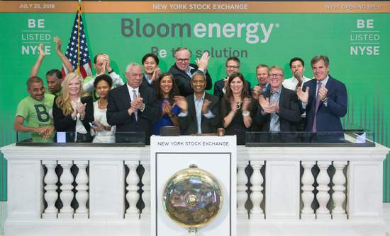 Bloom Energy debuted on the NYSE under the symbol BE.
