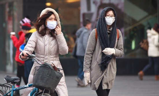 Women wearing face masks in Beijing