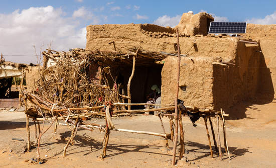 A Berber hut with a solar panel.