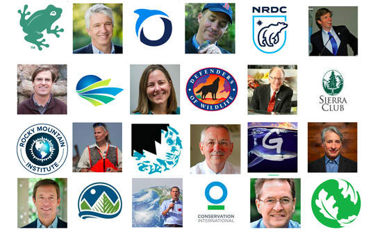 An assortment of environmental group logos and leaders' faces