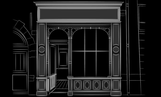 Black and white draft image of a storefront
