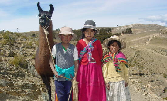 Kids with llama