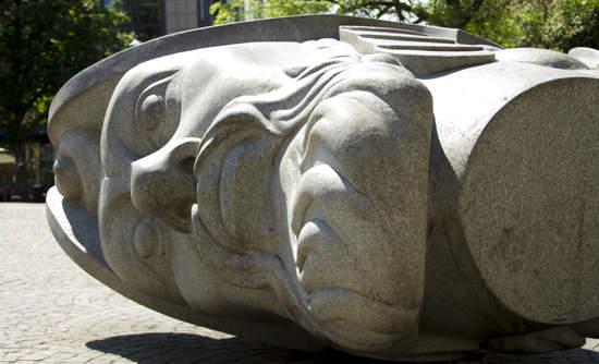 GERMANY, BONN AUGUST 10, 2012: First plane of Sculpture depicting the head of Saints Florentius in front of the Bonn Minster