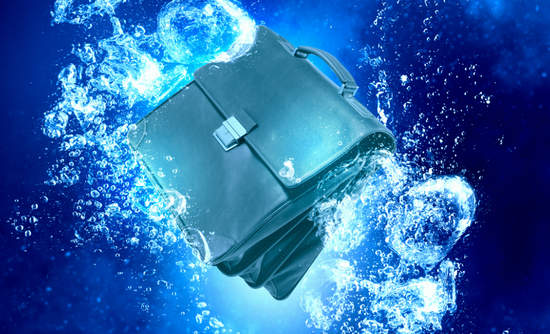 Briefcase in water