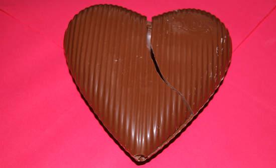 Broken chocolate heart
