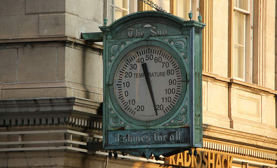 Broken thermometer in Manhattan in 2009