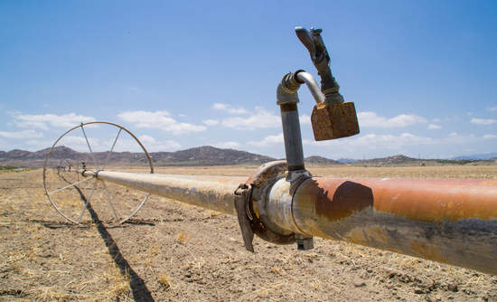 An irrigation pipe on a Southern California farm.