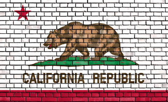 California flag in brick wall