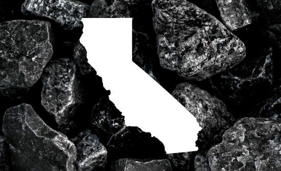 A photo of coal with a California-shaped chunk taken out of it.