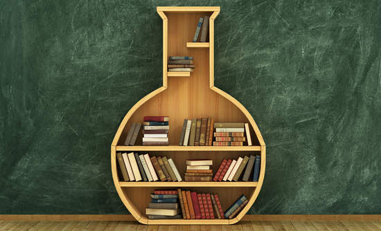 A bookcase shaped like a lab flask