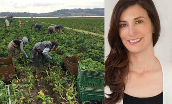 Christine Moseley of Full Harvest alongside a kale harvest