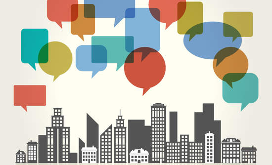 Illustration of a city skyline with speech bubbles