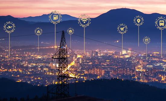 City landscape with data symbols