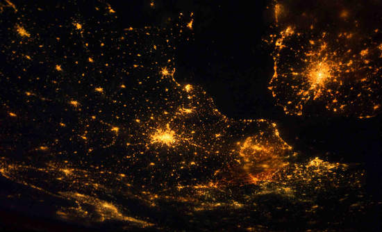 Image of Europe at night from NASA's Marshall Space Flight Center