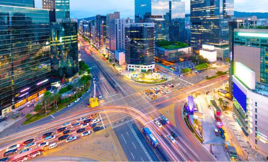 Traffic in the Gangnam District in Seoul, South Korea