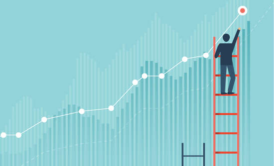 Image of businessperson climbing a ladder