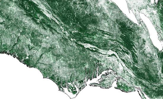 coast in satellite imagery