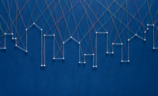Buildings connected by strings