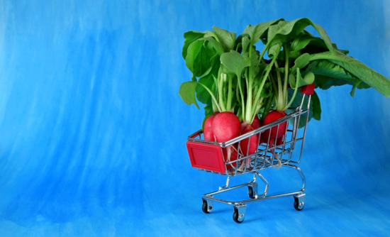 Shopping cart with radishes in it