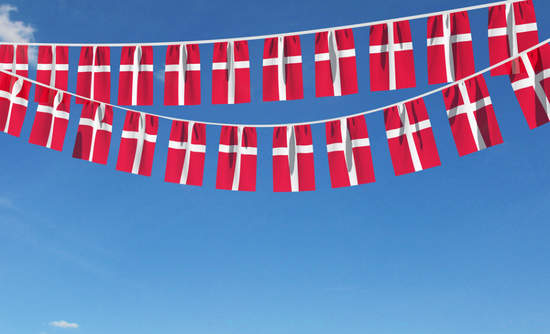 Danish flags on a line