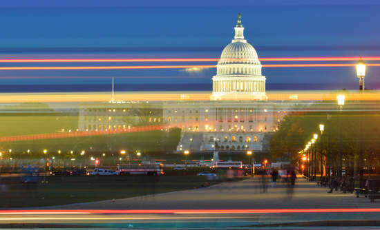 Night lights in front of the U.S. Capitol