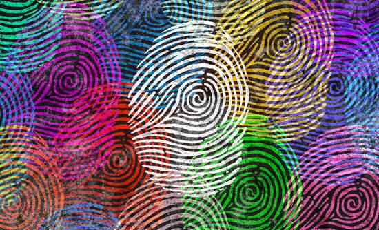 Multicolored fingerprints