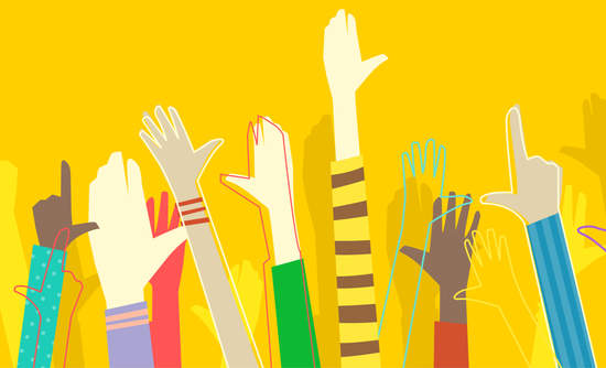 Illustration of diverse hands being raised