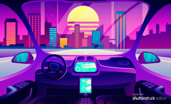 Driverless, automated car in futuristic society