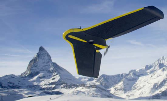 SenseFly eBee drone against a Matterhorn backdrop
