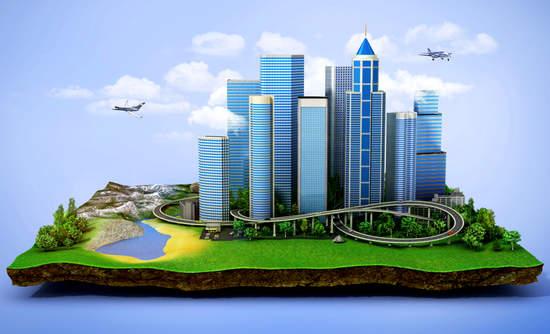 Eco city on a floating island