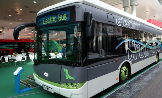 An electric bus in Hannover, Germany.