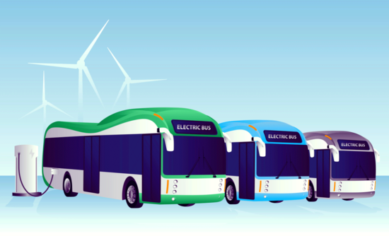 Electric buses charging