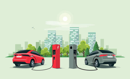 Vector illustration comparing electric and gasoline cars at a charging and gasoline station, respectively. There's a city building skyline in the background.