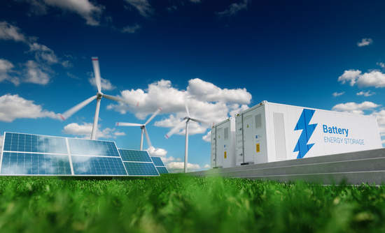 Photovoltaics, wind turbines and Li-ion battery container in nature, 3D rendering.