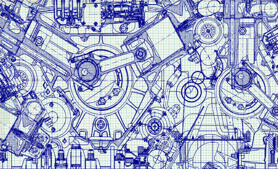 Drawing of an engine on draft paper