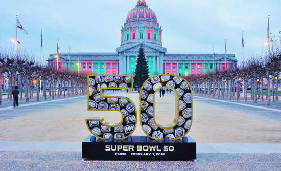 Sign for Super Bowl 50 in front of San Francisco City Hall