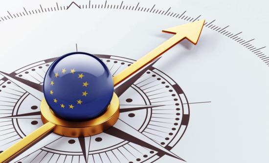 European Union symbol on a compass