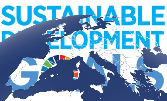 Map of Europe with sustainable development goals behind