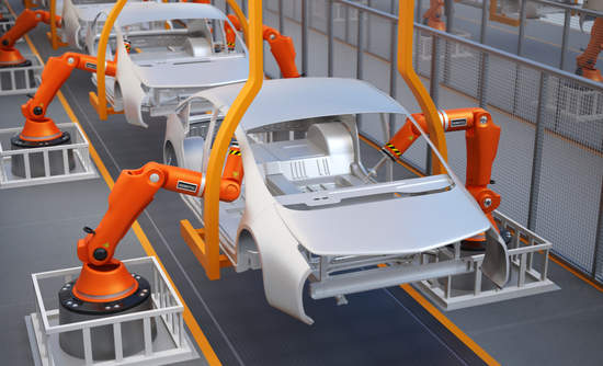 3D rendering of an electric vehicle assembly line