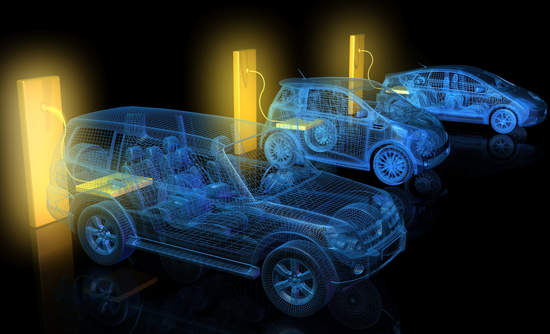 Illustrated electric cars charging from large glowing yellow battery outlets