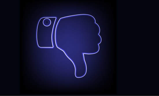 "Facebook ""like"" symbol with the thumb down"