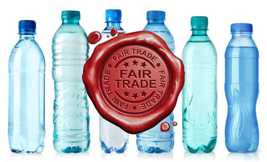 Fair trade certification on plastic bottles