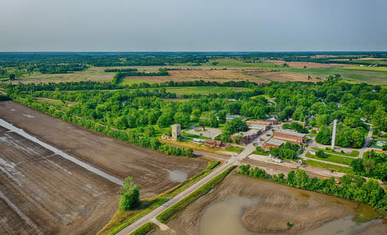Aerial view of flooded farmlands near Blackwater, MO