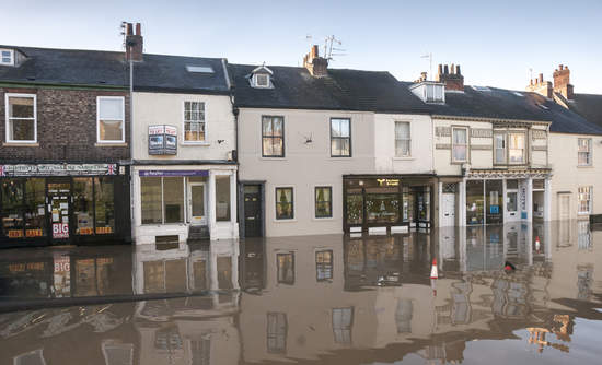 Buildings on Fishergate street under water during flood in York after the River Ouse burst its bank on December 2015.